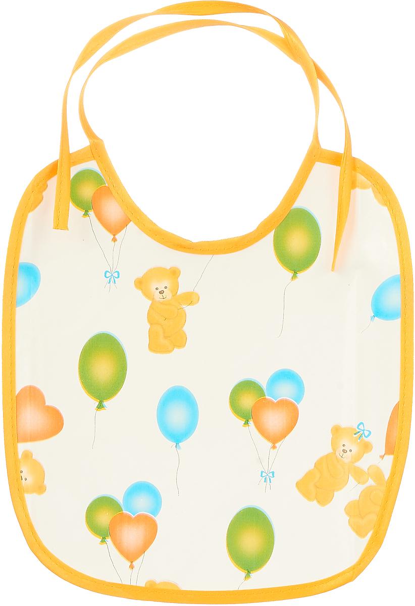 Колорит Нагрудник Мишки с шариками 20 х 22 см цвет: белый, желтый