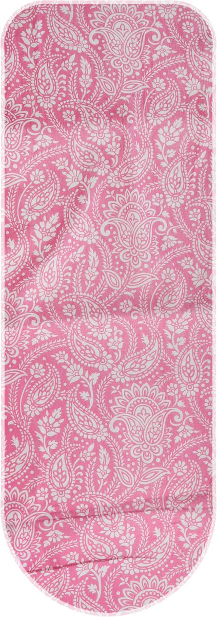 Чехол для гладильной доски Eva Узоры, цвет: бордовый, 125 х 47 см чехол для гладильной доски eva грация цвет сиреневый бежевый 125 х 47 см