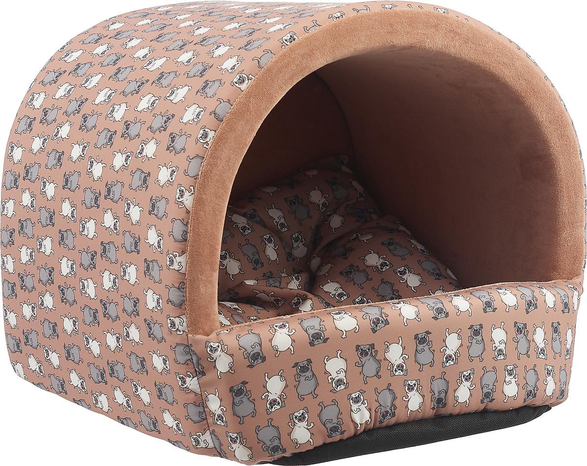 """Домик для животных Happy Puppy """"Мопсик"""", цвет: коричневый, бежевый, 37 x 37 x 40 см"""