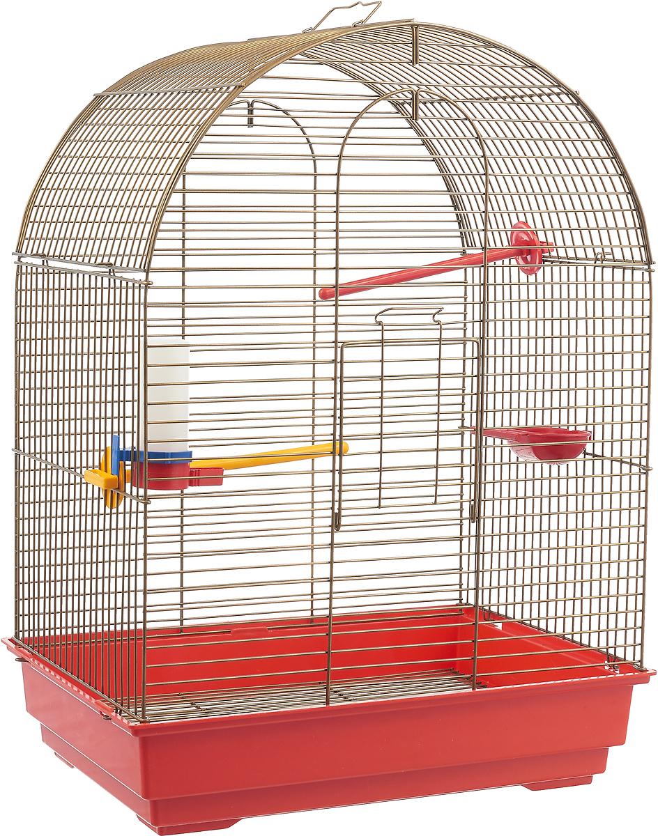 """Фото Клетка для птиц Велес """"Lusy Gold"""", разборная, цвет: красный, 30 х 42 х 65 см"""