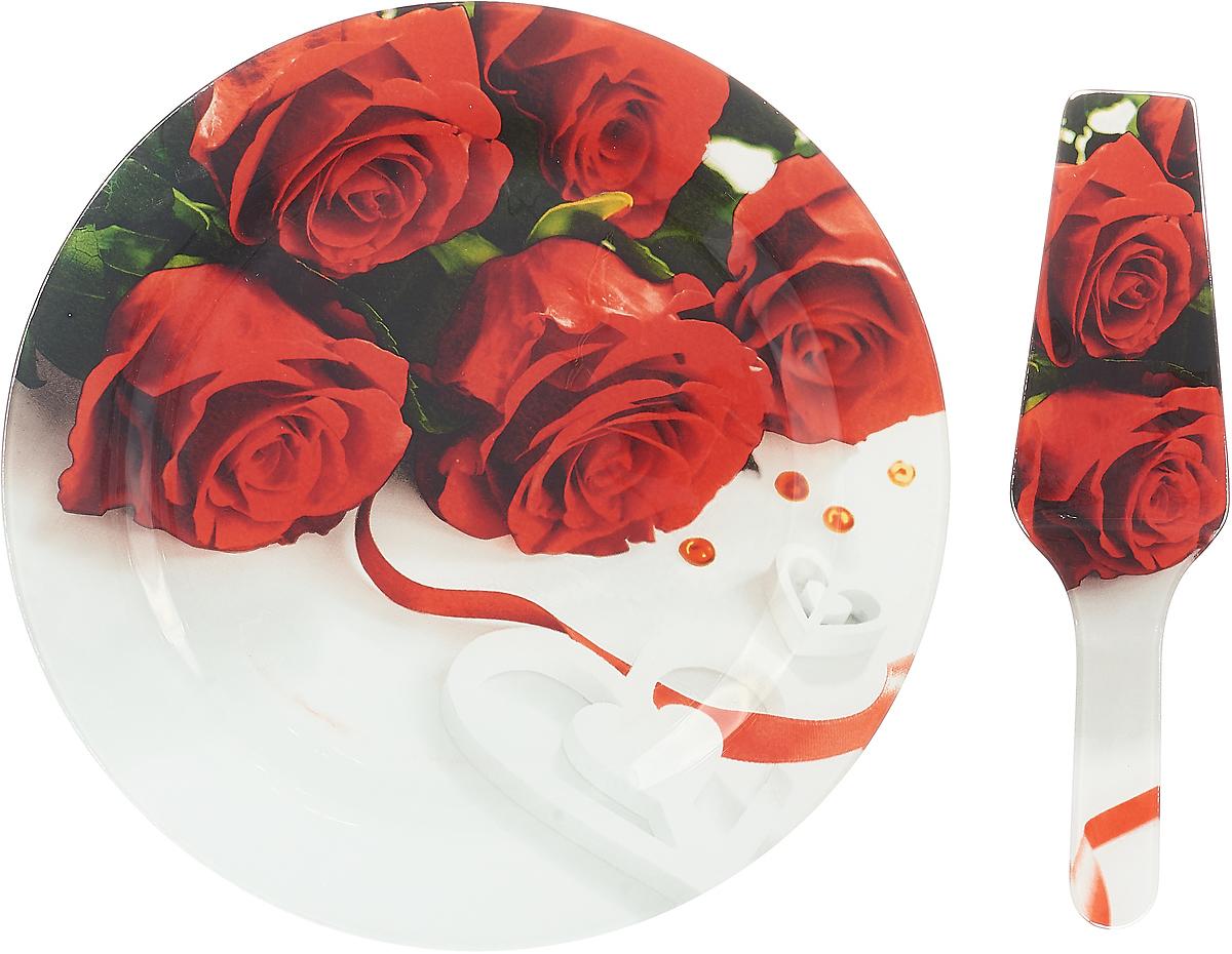 """Блюдо для торта """"Loraine"""", с лопаткой, цвет: красный, диаметр 30,5 см. 26630-5"""