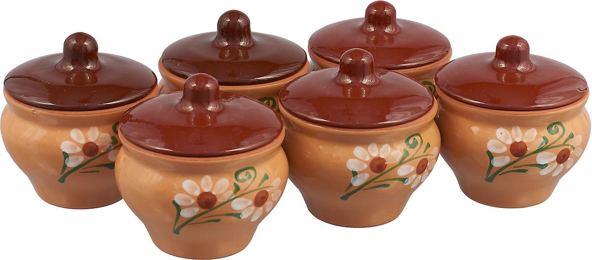 Набор горшочков для запекания Борисовская керамика Мечта хозяйки, цвет: бежево-коричневый, 350 мл, 6 шт