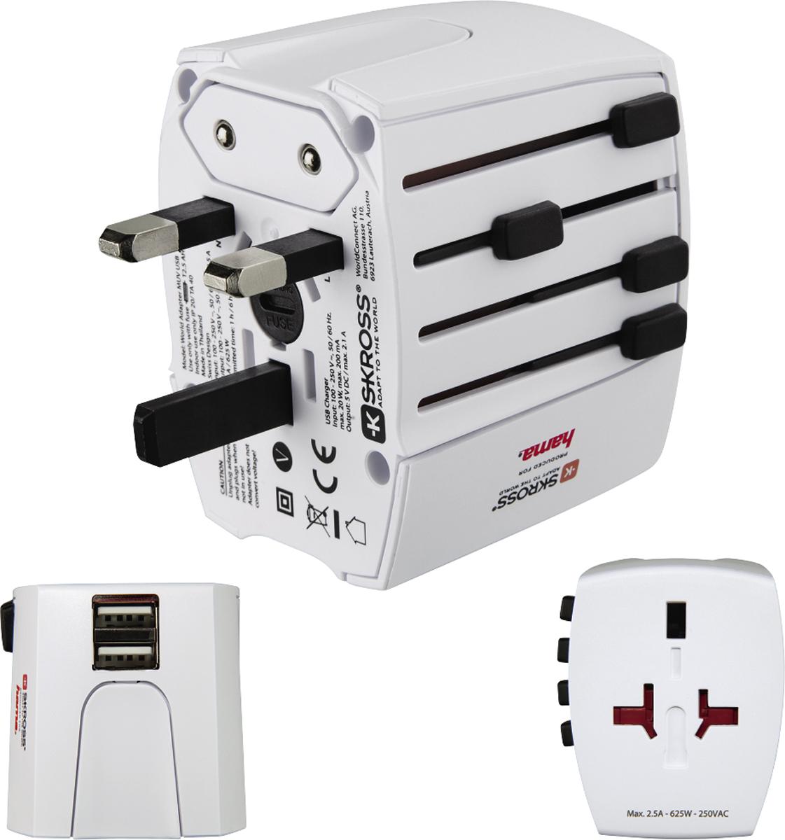 Hama 128226, White сетевой адаптер MUV USB, 2 pins