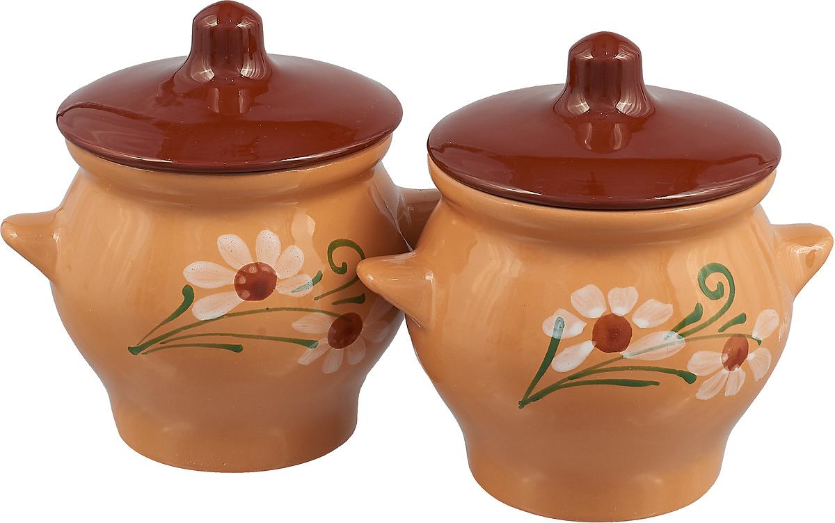 Набор горшочков для запекания Борисовская керамика Стандарт, цвет: светло-коричневый, темно-коричневый, 650 мл, 2 шт