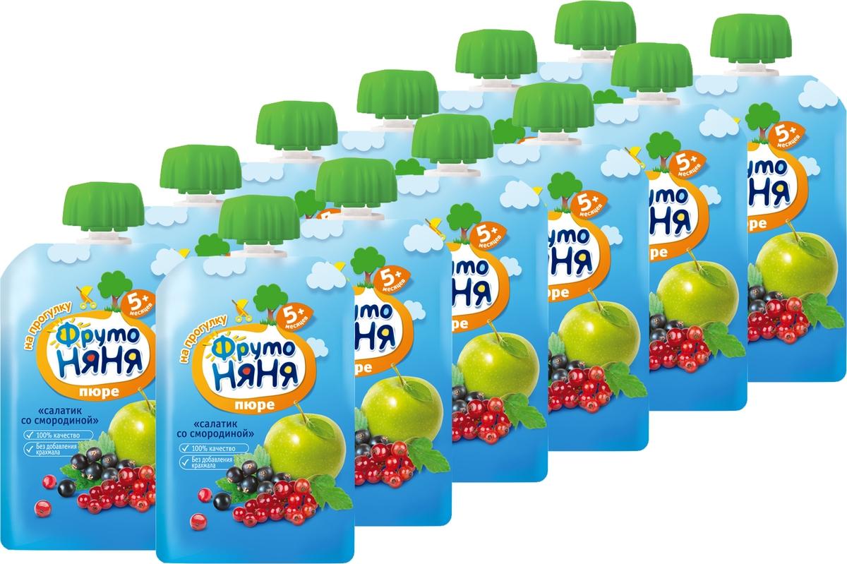 Пюре ФрутоНяня фруктовый салатик со смородиной с 5 месяцев, 12 шт по 90 г ФрутоНяня