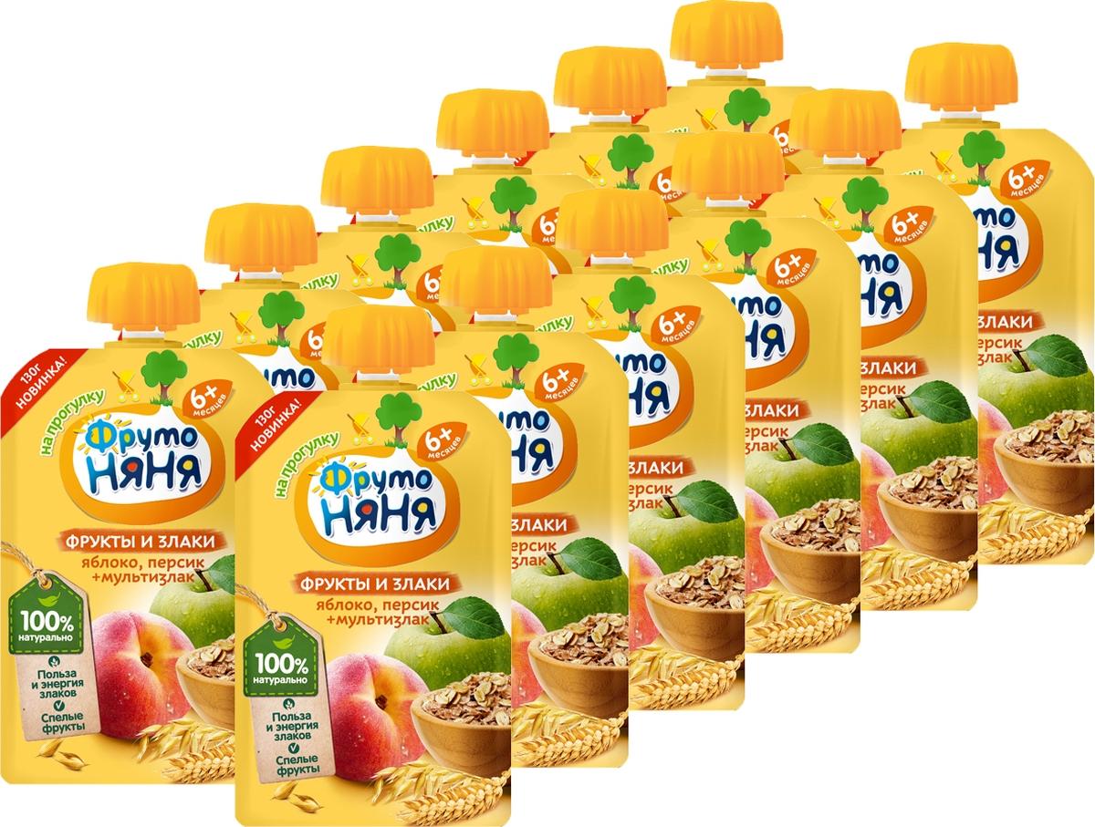 Пюре ФрутоНяня из яблок и персиков со злаками с 6 месяцев, 12 шт по 130 г спеленок пюре грушевое 12 шт по 125 г