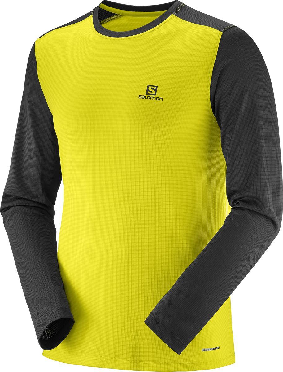Лонгслив мужской Salomon Stroll Ls Tee, цвет: желтый, черный. L40406500. Размер XL (52) лонгслив мужской craft breakaway ls цвет серый 1905831 975999 размер xl 52
