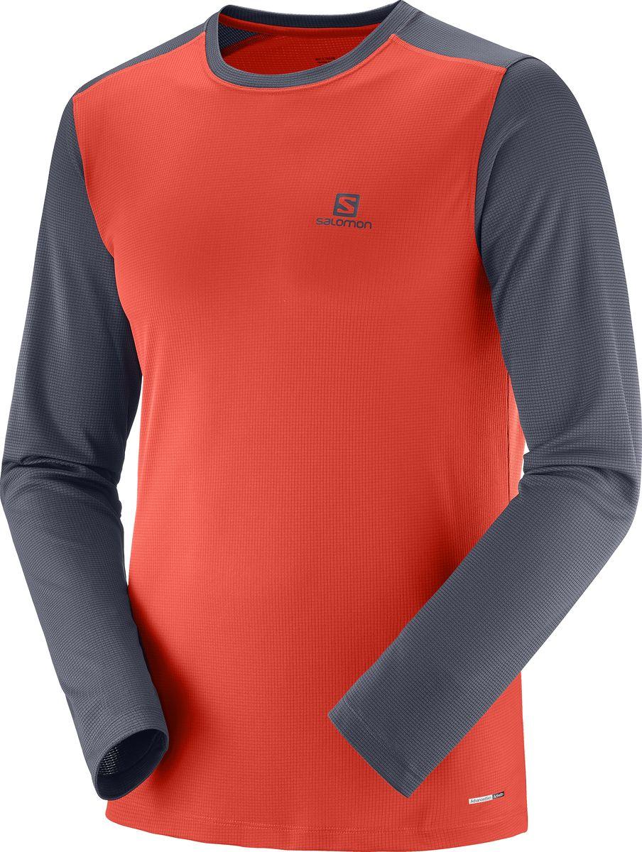 Лонгслив мужской Salomon Stroll Ls Tee, цвет: красный, серый. L40406400. Размер L (50) футболка iriedaily clerk contrast neck tee night sky 719 l
