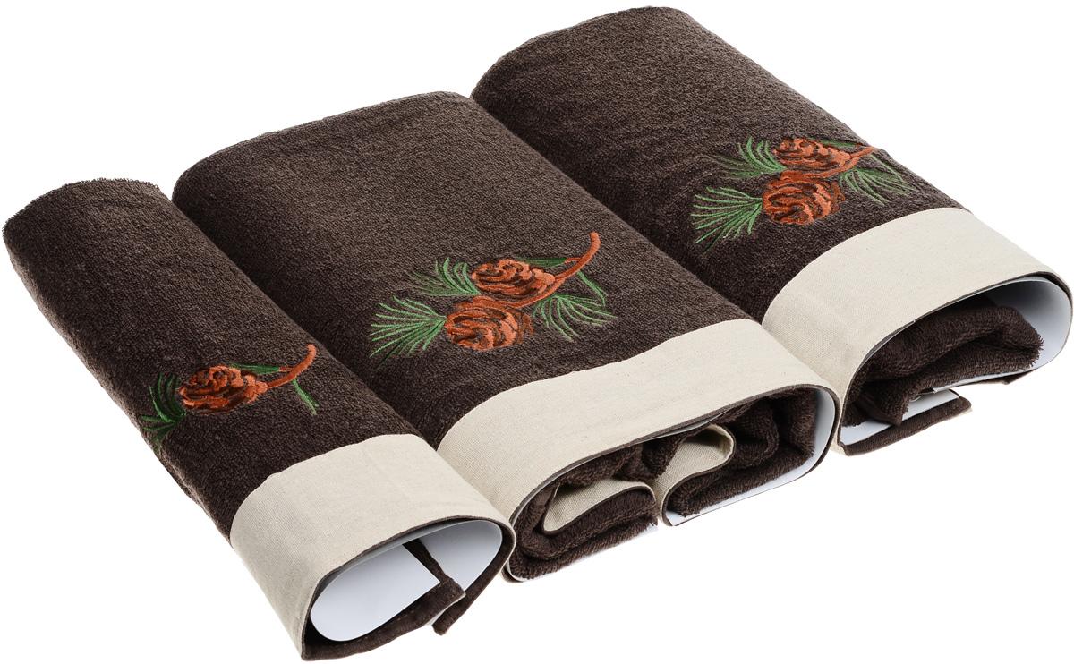 цена на Набор махровых полотенец Bravo Ботаника, цвет: коричневый, кремовый, 30 х 50 см, 45 х 90 см, 65 х 130, 3 шт