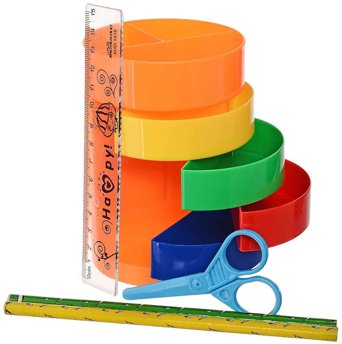 Канцелярский набор Веер-радуга цвет оранжевый 5 предметов