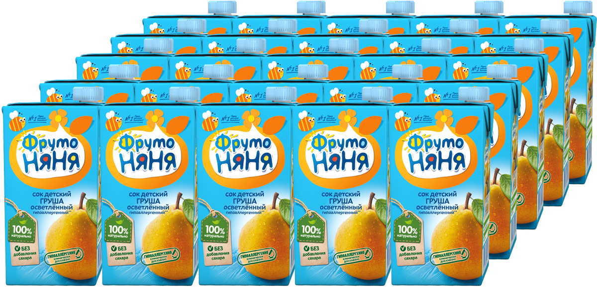 ФрутоНяня сок из груш, 25 шт по 0,5 л фрутоняня кисель из малины с 12 месяцев 0 2 л