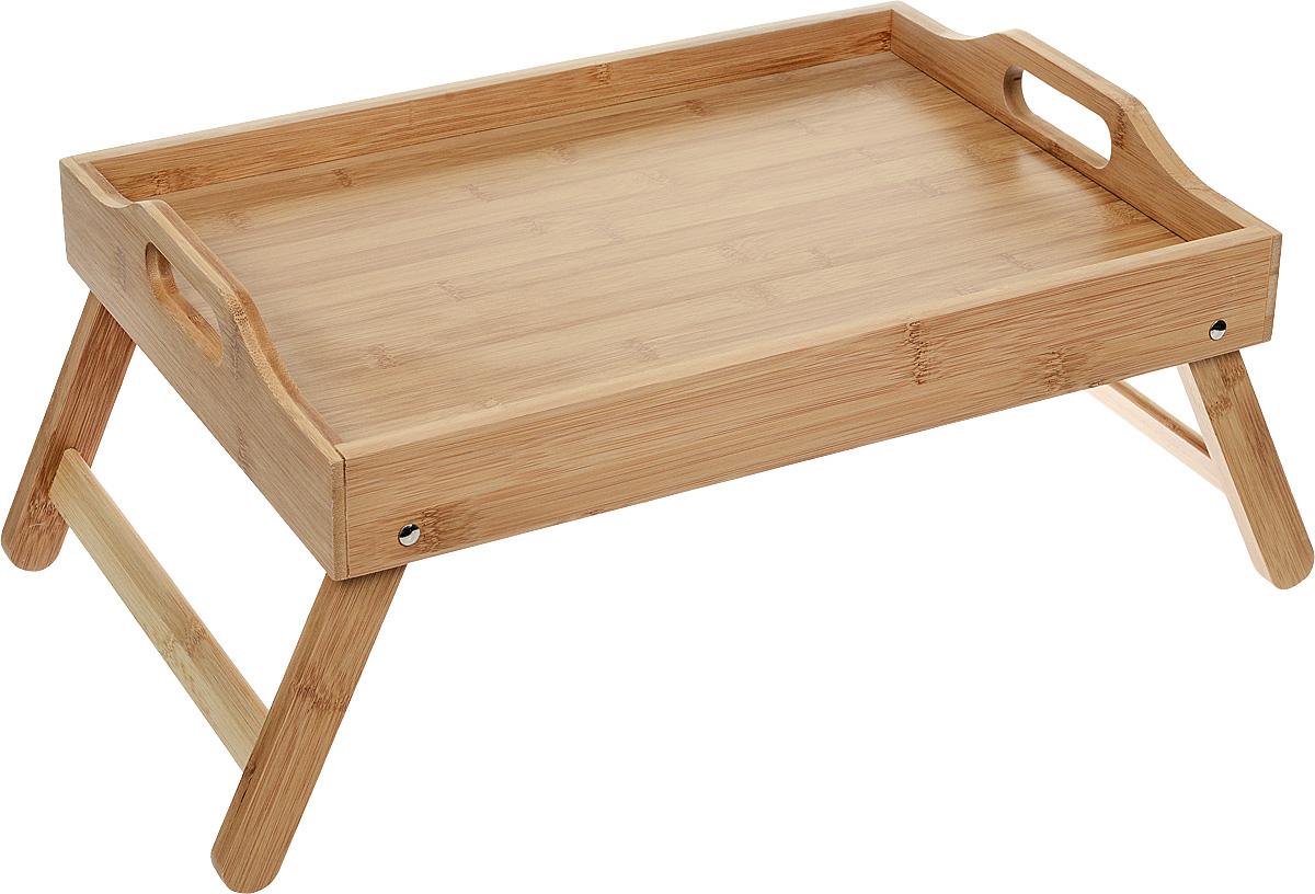 Бамбуковый сервировочный столик-поднос. Удобство хранения и переноски. Удобно есть, читать, работать в кровати. Складные ножки помогают экономить место.Размер столешницы: 48 x 34 x 8 см.