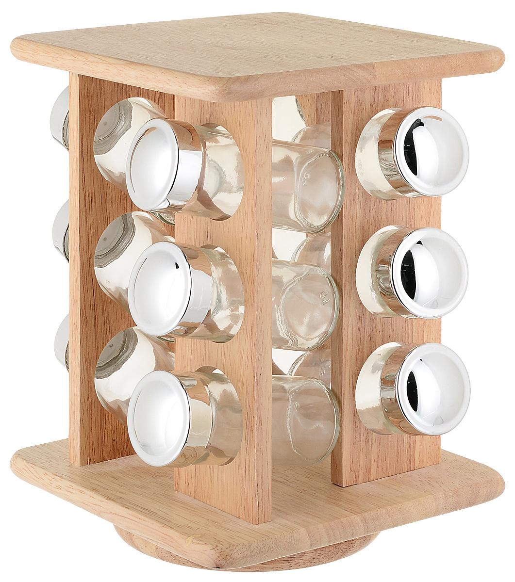 Вращающаяся подставка для специй 12 банок. Каучуковое дерево. Вращающаяся подставка, 12 стеклянных банок с деревянными крышками. Прочность, и долговечность.Объем банок - 120 мл.