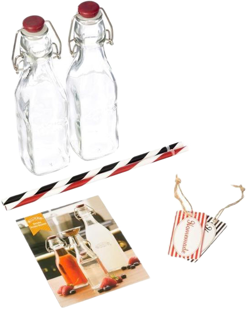 В набор входит 2 бутылки с пробками Clip Top, 2 трубочки, 2 бирки на бутылки и буклет с рецептами. Набор можно использовать для сервировки любых прохладительных напитков. Приготовьте домашний лимонад или квас, разлейте его по бутылочкам и возьмите с собой на пикник. Пробки плотно прилегают к краям горлышка бутылки и обеспечивают полный вакуум.