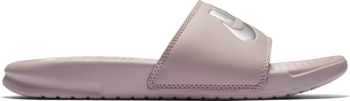 Шлепанцы женские Nike Benassi Just Do It, цвет: розовый, серебристый. 343881-614. Размер 8 (38)