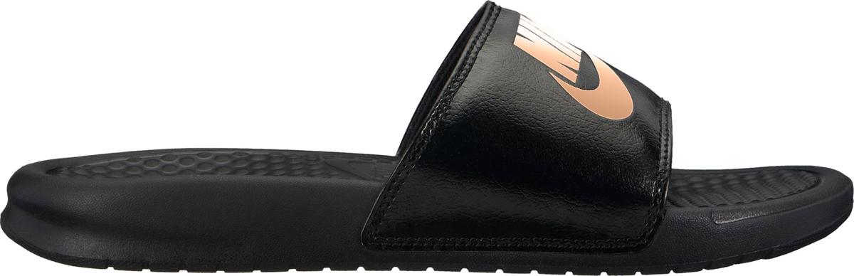 Шлепанцы женские Nike Benassi Just Do It, цвет: черный, розовый. 343881-007. Размер 6 (35,5)