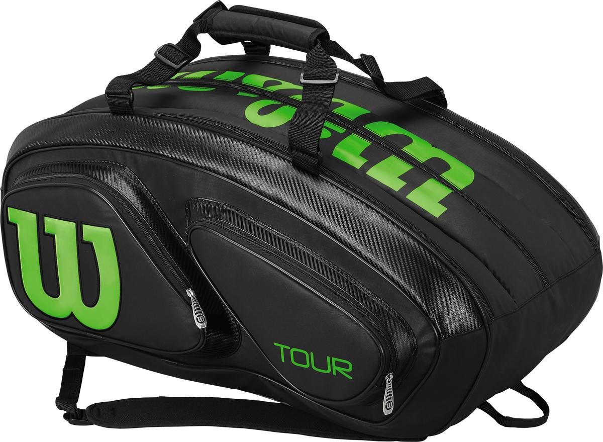Теннисная сумка из Коллекции TOUR, часто используемая нашими большими чемпионами на кортах лучших турниров мира. 3-и отделения, вмещающие до 15 ракеток. Специальное отделение для влажных вещей. Система защиты ваших теннисных ракеток от излишней влаги или жары.
