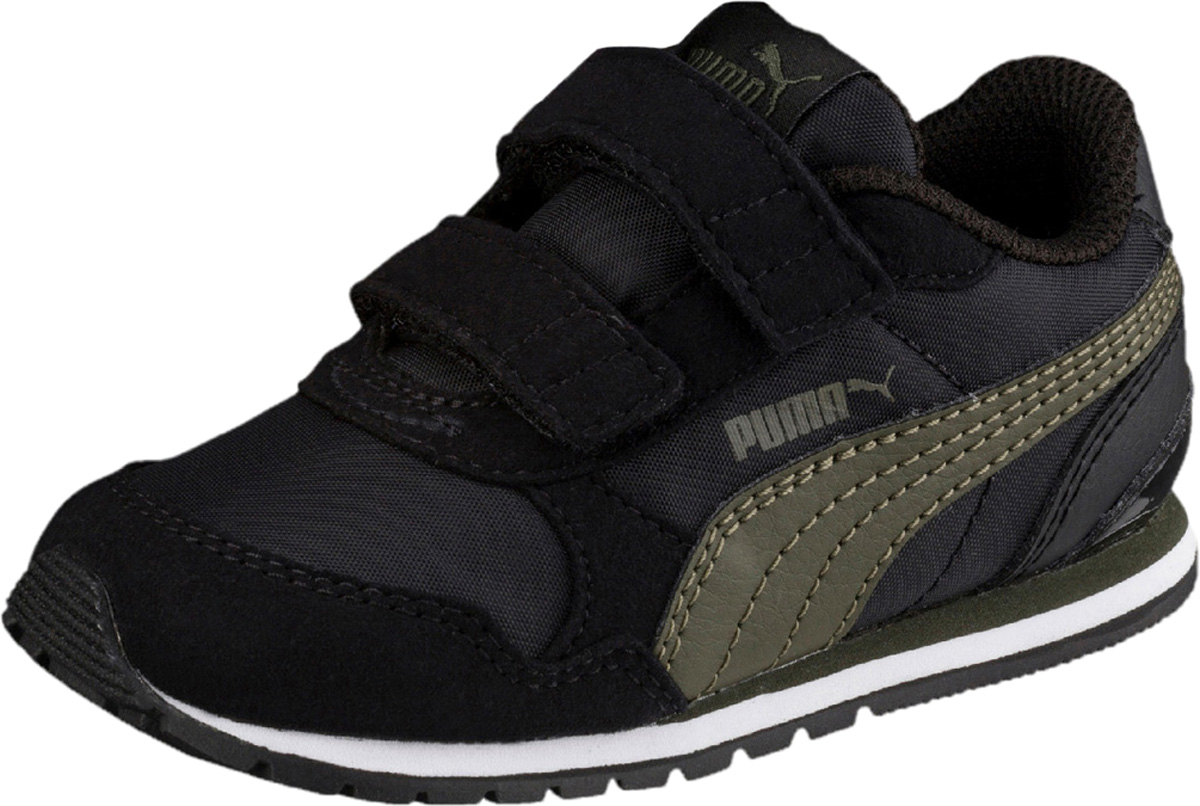 Кроссовки детские Puma ST Runner v2 NL  PS, цвет: черный, оливковый. 36529406. Размер 1, (33)