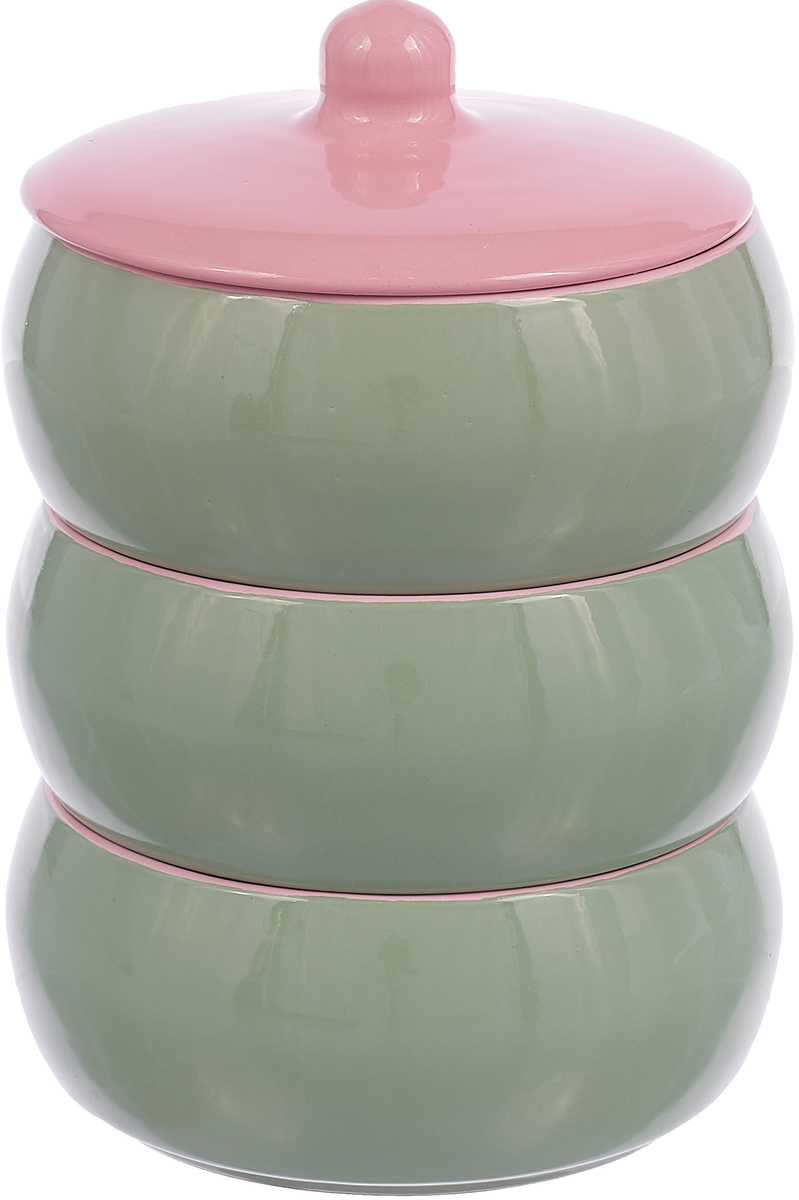 Набор столовой посуды Борисовская керамика Русский, цвет: зеленый,розовый, 4 предмета набор столовой посуды борисовская керамика русский 3 предмета 900 мл