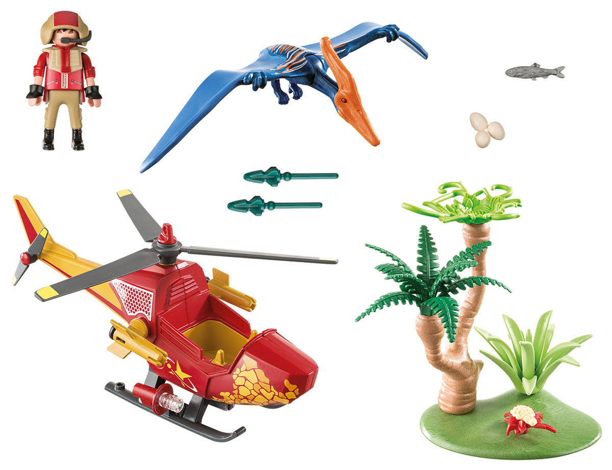 Playmobil Игровой набор Динозавры Вертолет для приключений с птеродактилем playmobil игровой набор в поисках приключений лодка с браконьерами