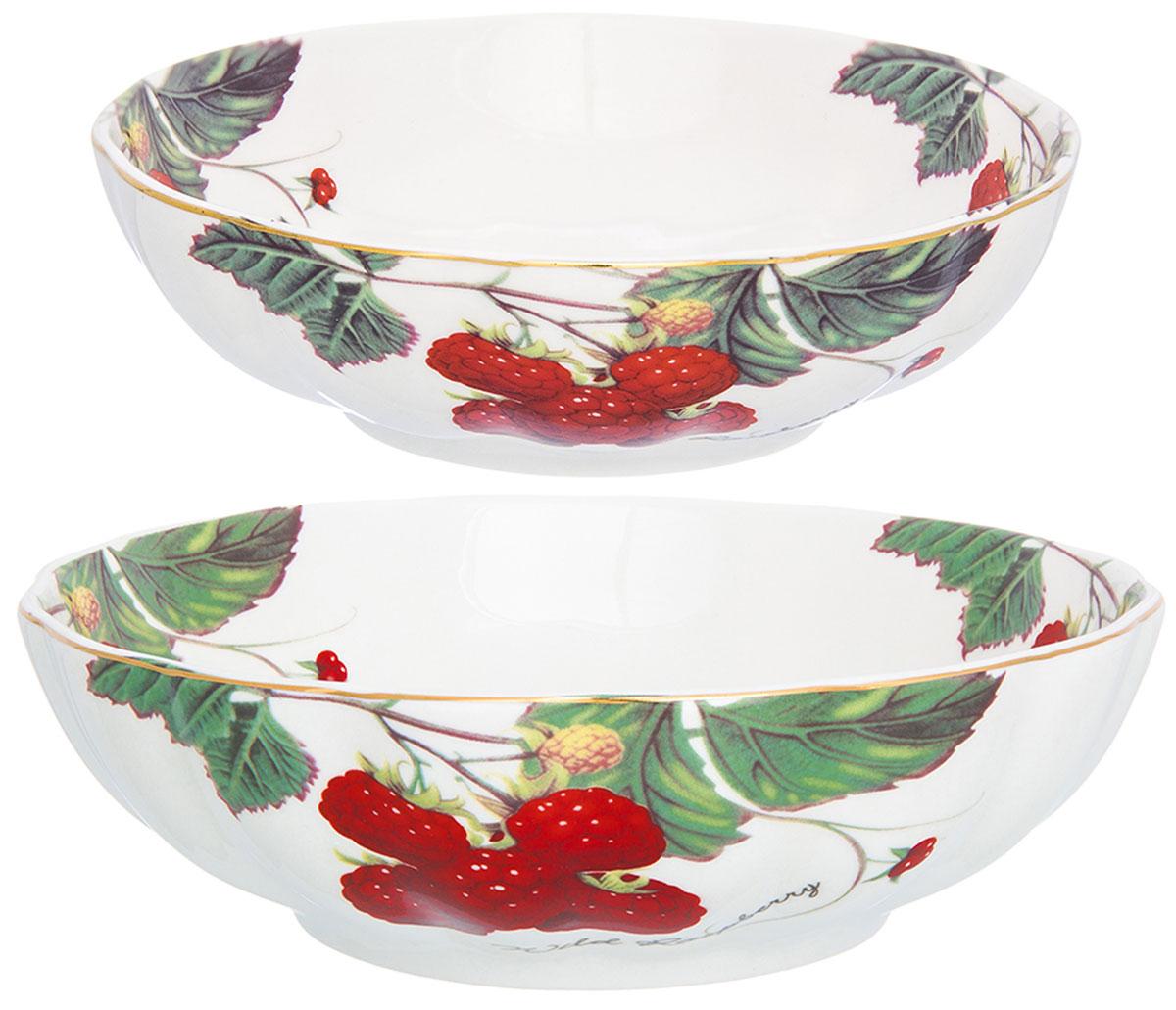 """Набор салатников серии """"Ягода - малина"""" выполнен из высококачественного фарфора и состоит из двух предметов. Объем салатников 500 мл и 900 мл. Салатники прекрасно подходят для сервировки любых блюд. А также могут быть использованы для подачи супов. Салатники можно мытьё в посудомоечной машине и использовать в микроволновой печи."""