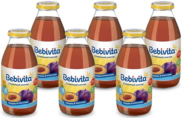 Bebivita нектар сливовый с витамином С, с 4 месяцев, 6 шт по 200 г bebivita 200