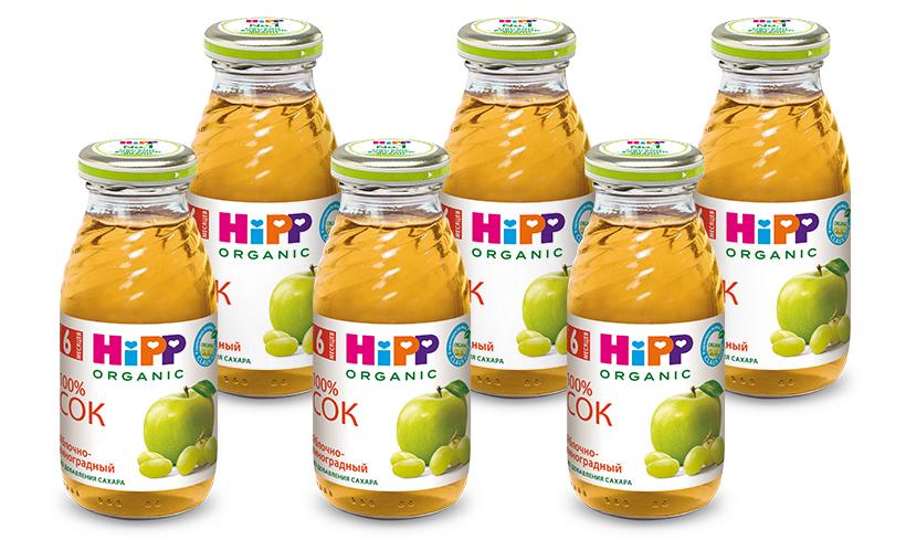 Hipp сок яблочно-виноградный восстановленный, с 6 месяцев, 6 шт по 200 г тема сок яблочно персиковый 18 шт по 200 мл