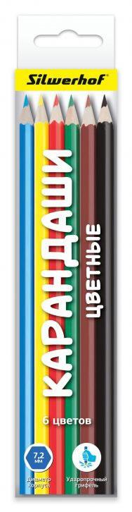 Silwerhof Народня коллекция Набор цветных карандашей 6 шт рыжий кот набор цветных карандашей школьник к 9868