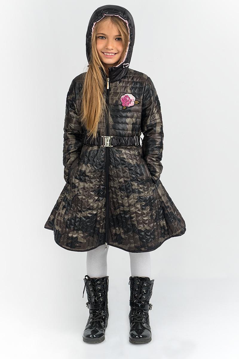 Пальто для девочки Boom!, цвет: черный. 80514_BOG. Размер 164