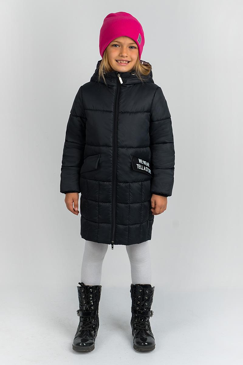 Пальто для девочки Boom!, цвет: черный. 80470_BOG. Размер 146