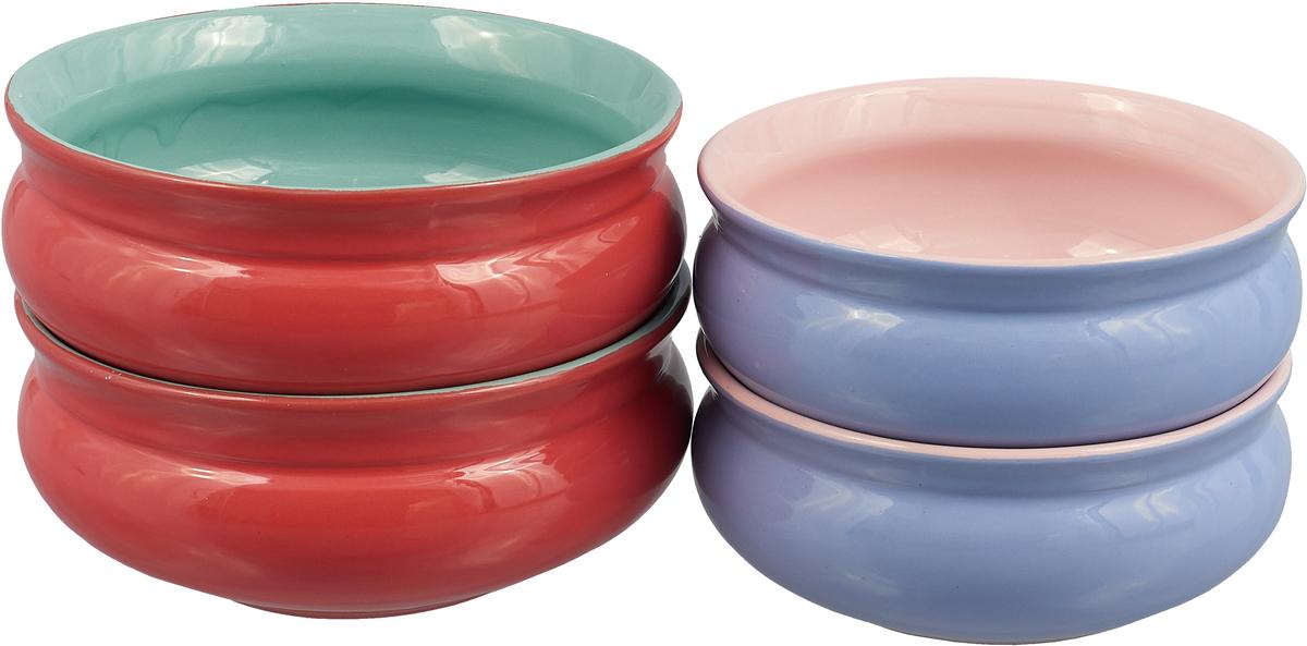 Набор тарелок Борисовская керамика Скифская, 4 шт цвет: сиреневый, серый, светло-розовый светло серый светло зеленый цв 4