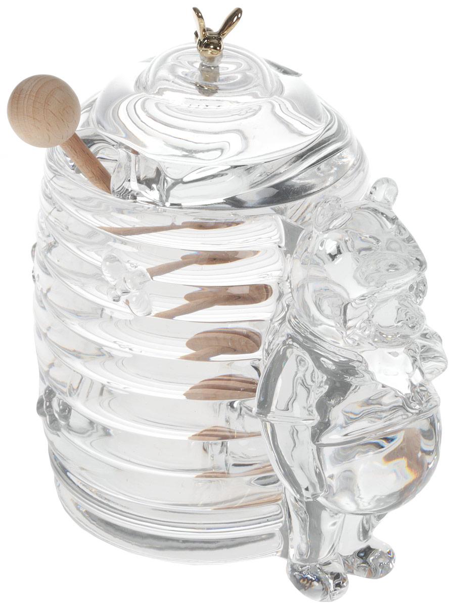 """Доза для меда Crystal Bohemia """"Мишка с ульем"""" изготовлена из высококачественного хрусталя. Доза выполнена в форме рельефного бочонка с крышкой и декорирована фигуркой медведя. Крышка украшена декоративной фигуркой пчелки. В комплекте деревянная ложка для меда. Изделие прекрасно впишется в интерьер вашего дома и станет достойным дополнением к кухонному инвентарю.  Доза подчеркнет прекрасный вкус хозяйки и станет отличным подарком.  Размер дозы (без учета крышки): 15 см х 10 см х 13 см.  Длина ложечки: 14,5 см. Объем дозы: 300 мл."""