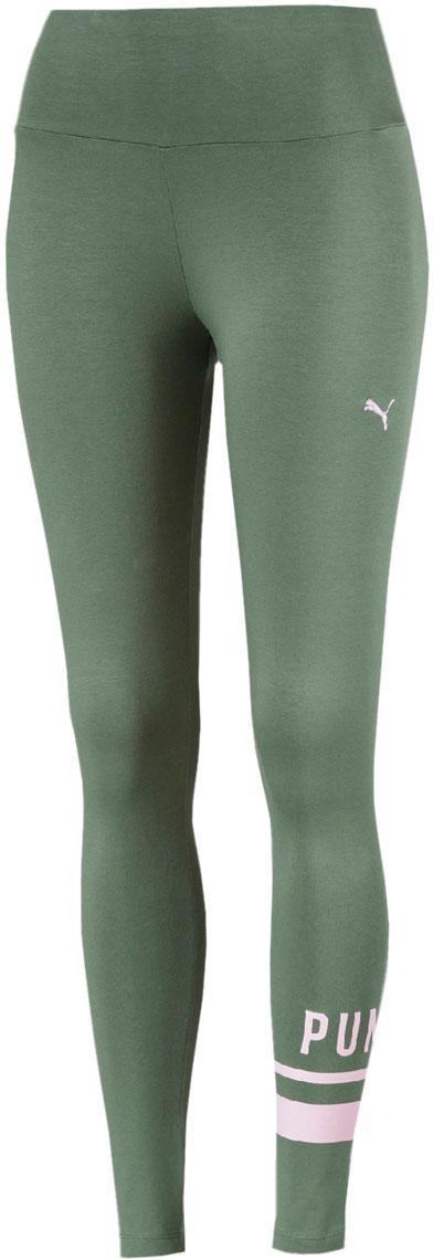 Леггинсы женские Puma Athletic Logo Leggings, цвет: зеленый. 85186523. Размер L (46/48)