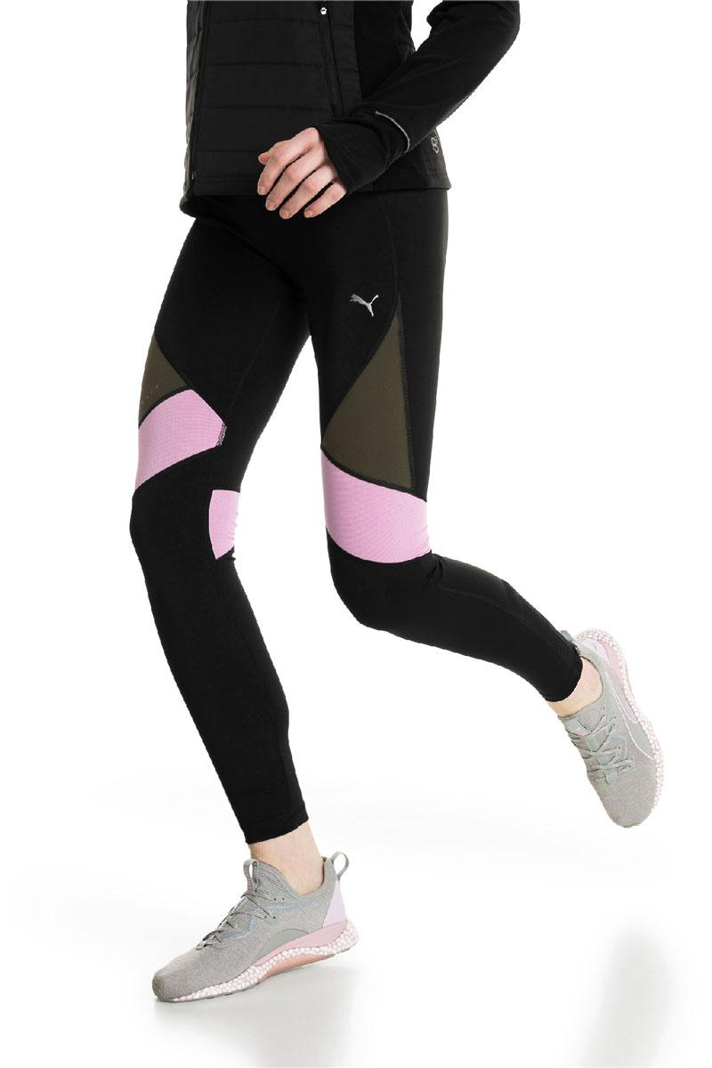 Тайтсы женские Puma Ignite Long Tight W, цвет: черный, оливковый, розовый. 51668701. Размер L (46/48)