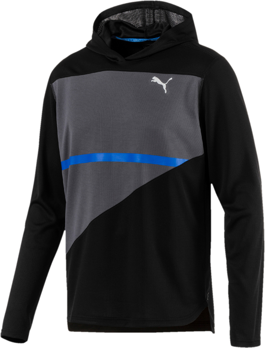 Худи мужское Puma Ignite Hooded L S Tee, цвет: черный, серый. 51700902. Размер XXL (52/54) nt00654 3 men s leather buckle decorated hooded coat army green xxl