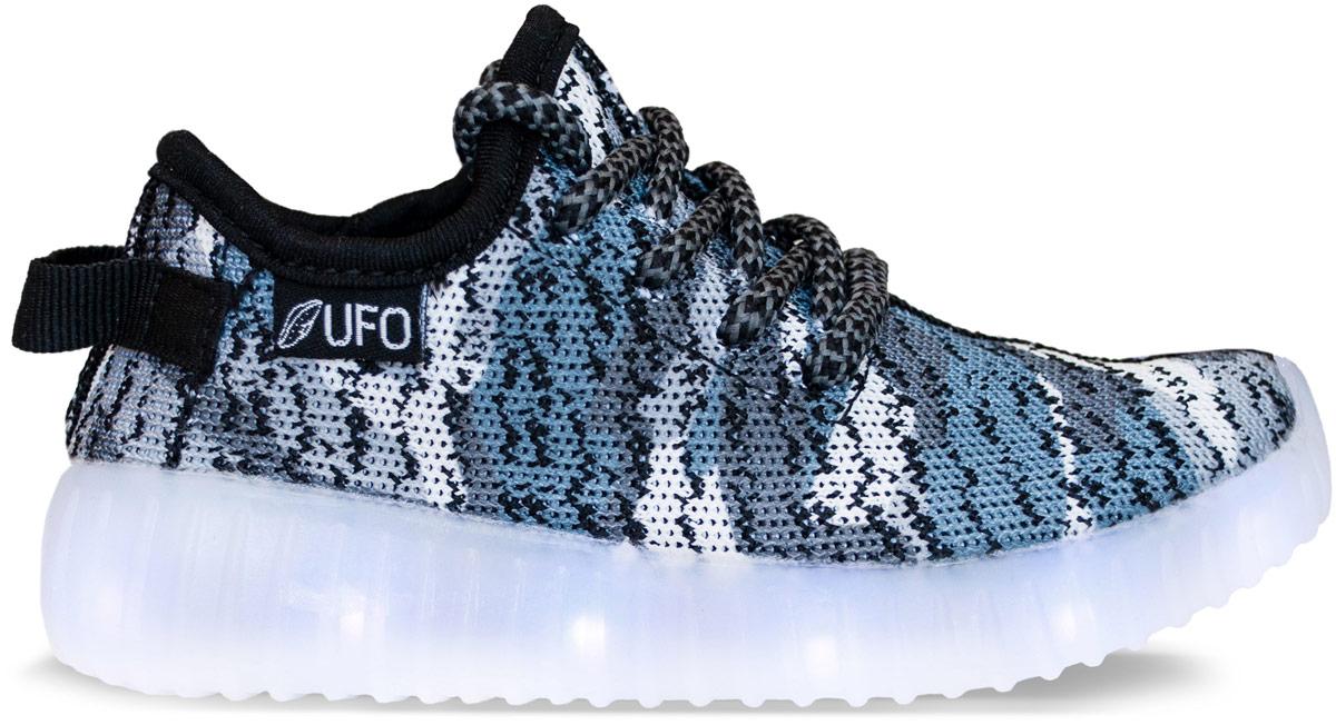 Кроссовки для девочки UFO, цвет: черный, серый. D083-C. Размер 25 (24)