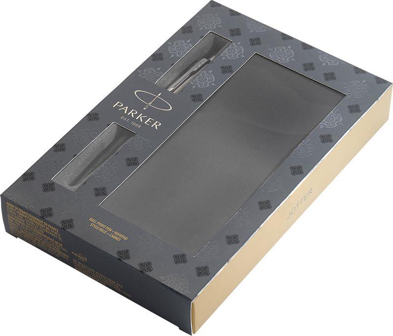 Подарочный набор: шариковая ручка Jotter Bond Street Black CT в тонком корпусе из полированной нержавеющей стали черного цвета с деталями цвета хром и записная книжка