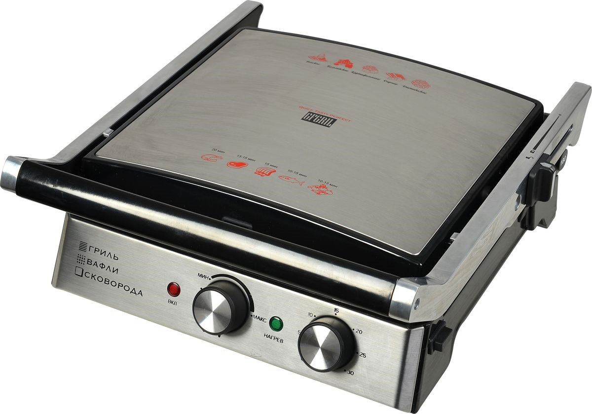 Электрогриль GFgril GF-180 Waffle-Grill-Griddle, Silver brand323 electric grill electrical home table grill waffle maker 3ps plates timer power indicator ready indicator non stick