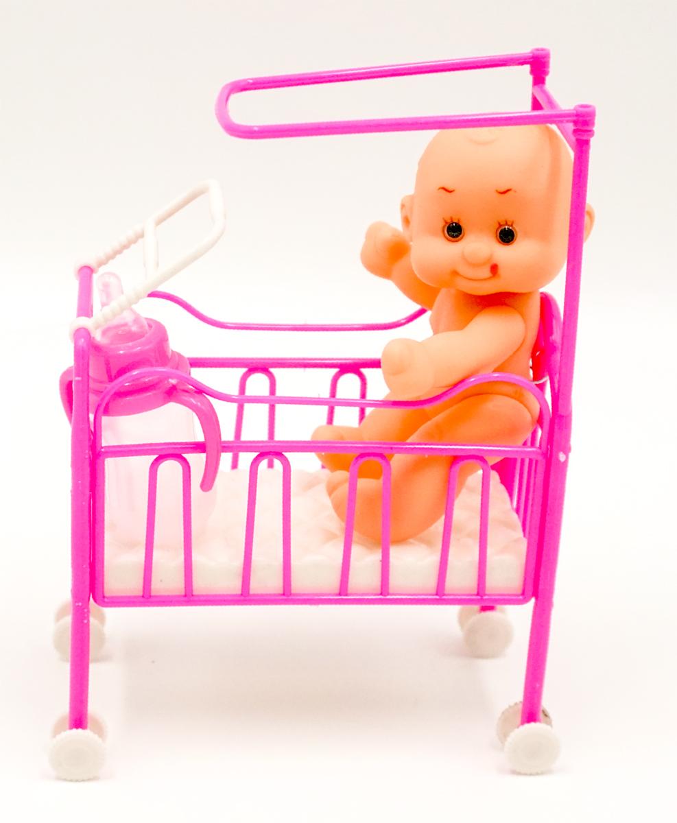 Пупс Город игр Anna De Wailly в кроватке детская бутылочка
