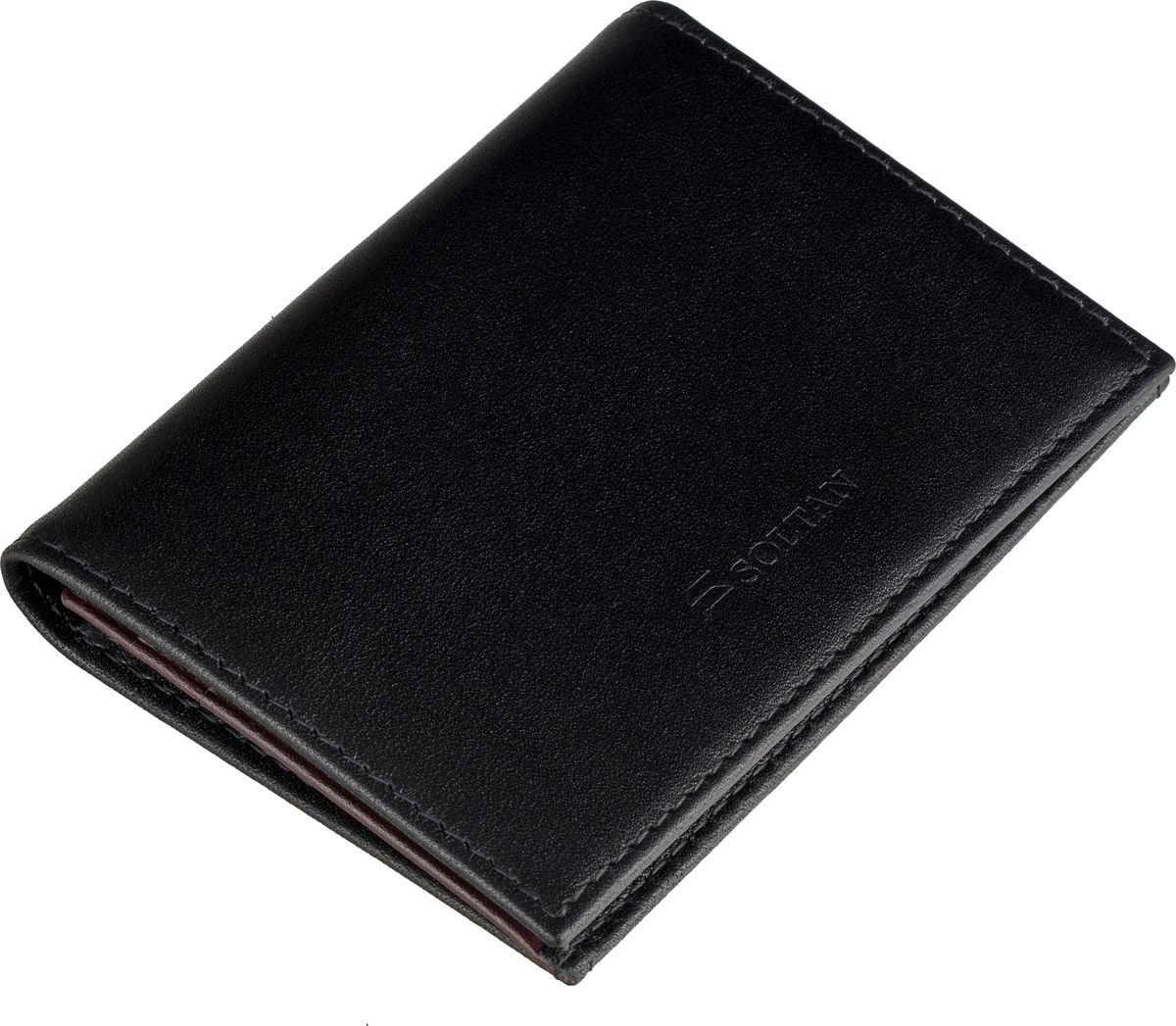 Футляр для визиток SOLTAN выполнен из натуральной кожи в сочентании двух цветов - черного и бордового. Застегивается на кнопку. Внутри отделение для персональных визиток и 5 кармашков для карт. Футляр упакован в красивую фирменную коробку.