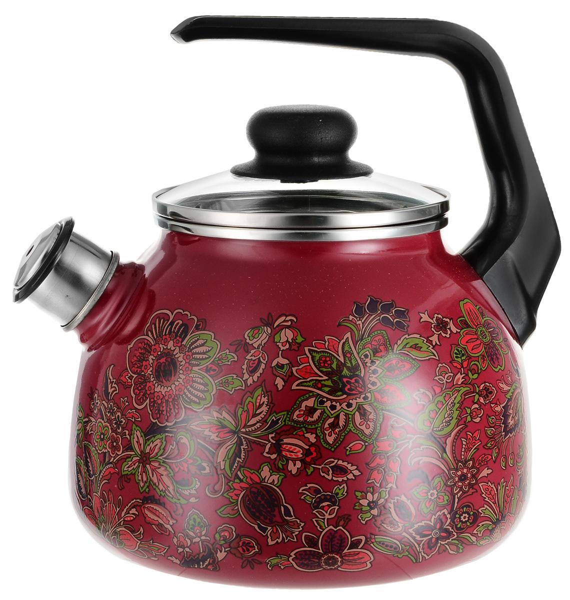 Чайник эмалированный Vitross Imperio, со свистком, цвет: вишневый, 3 л чайник эмалированный vitross fruits со свистком 2 л