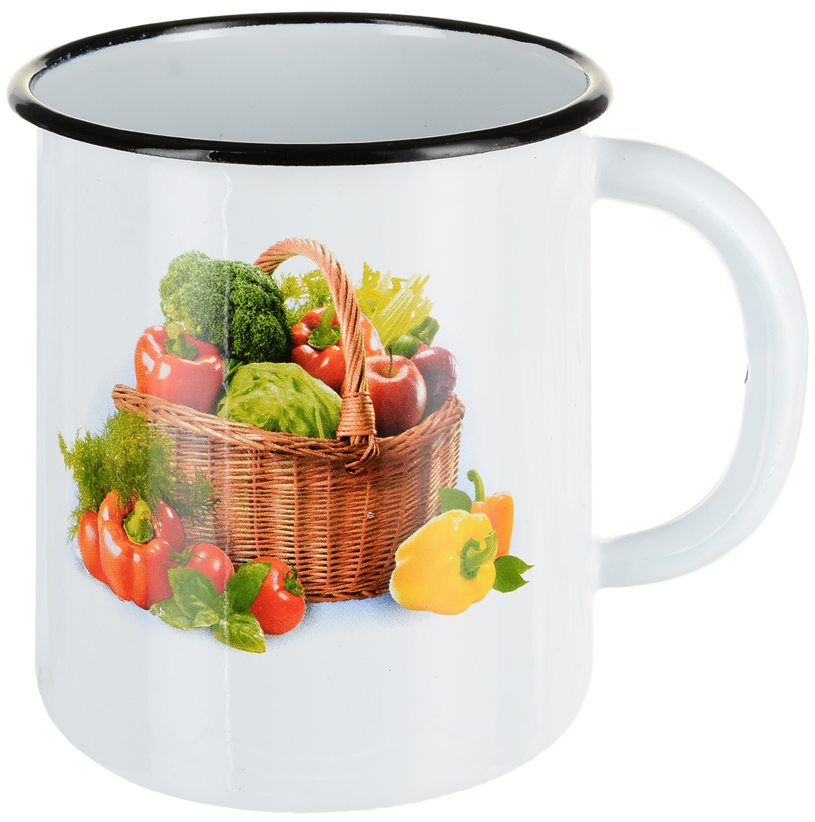 """Фото Кружка эмалированная СтальЭмаль """"Овощи"""", цвет: белый, 1 л"""