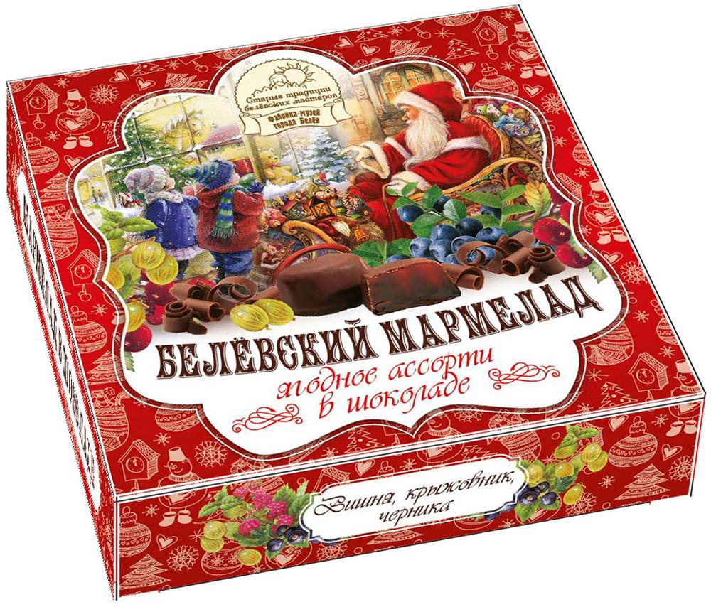 Мармелад в шоколаде Старые традиции Ягодное ассорти: вишня, крыжовник, черника, 120 г, Старые традиции белёвских мастеров