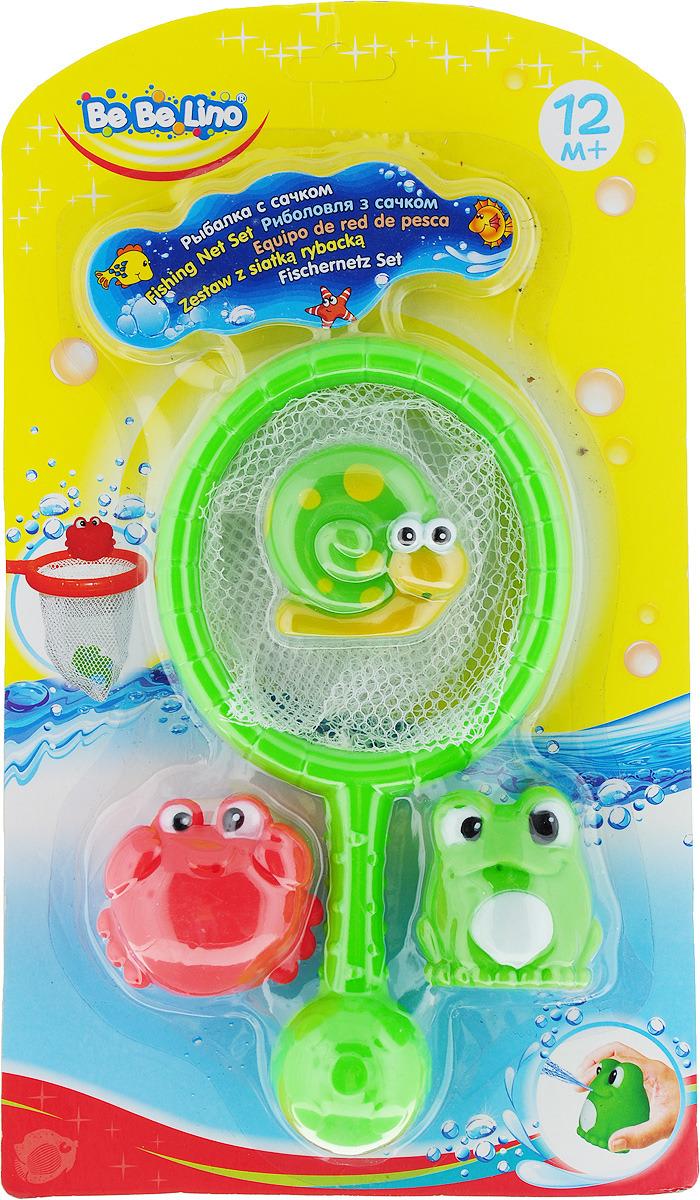 BebeLino Набор игрушек для ванной Рыбалка с сачком цвет зеленый аксессуары для ванной и туалета modalin коврик для ванной diana цвет светло зеленый набор