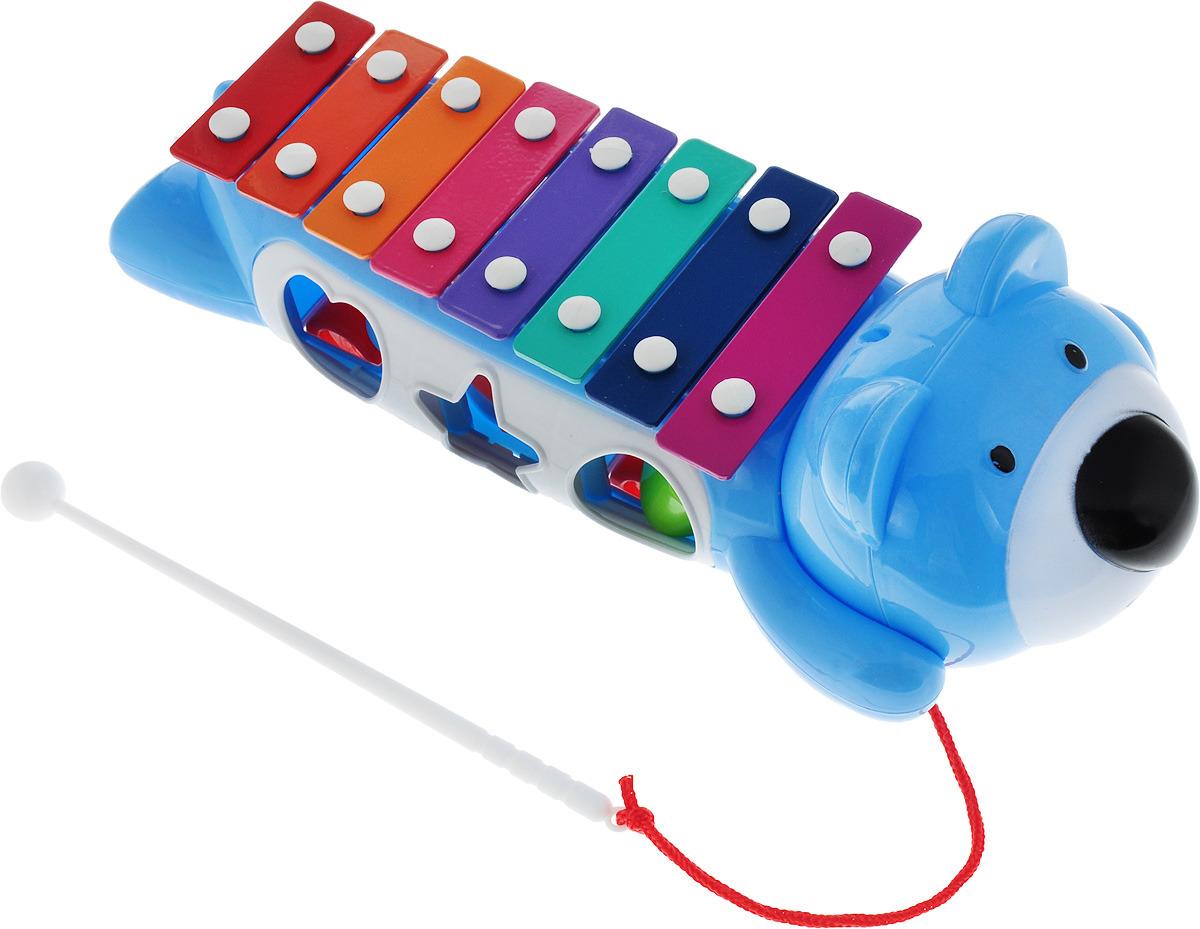 BebeLino Ксилофон-Сортер на колесах цвет голубой