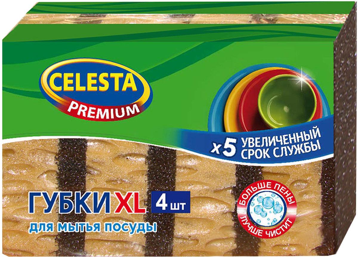 Губка для мытья посуды Celesta Premium, XL, 4 шт губка для мытья посуды home queen большая 10 шт