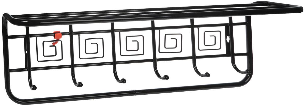 Вешалка настенная ЗМИ Узор Квадраты, с полкой, 7 крючков, цвет: черный, 80 х 21 х 28 см вешалка настенная sheffilton с полкой 5крючков 680х250х260мм