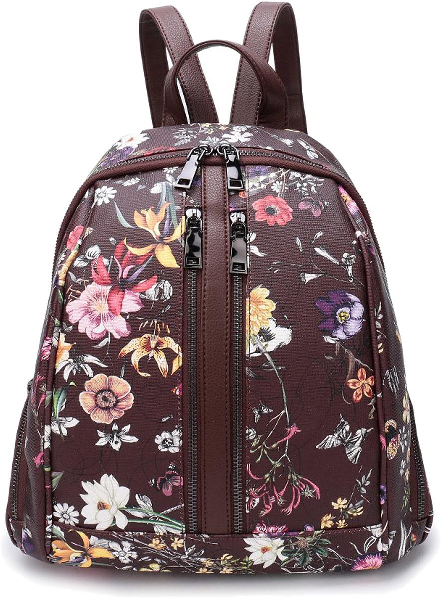 Рюкзак женский OrsOro, цвет: темно-коричневый, мультиколор. DW-853/5