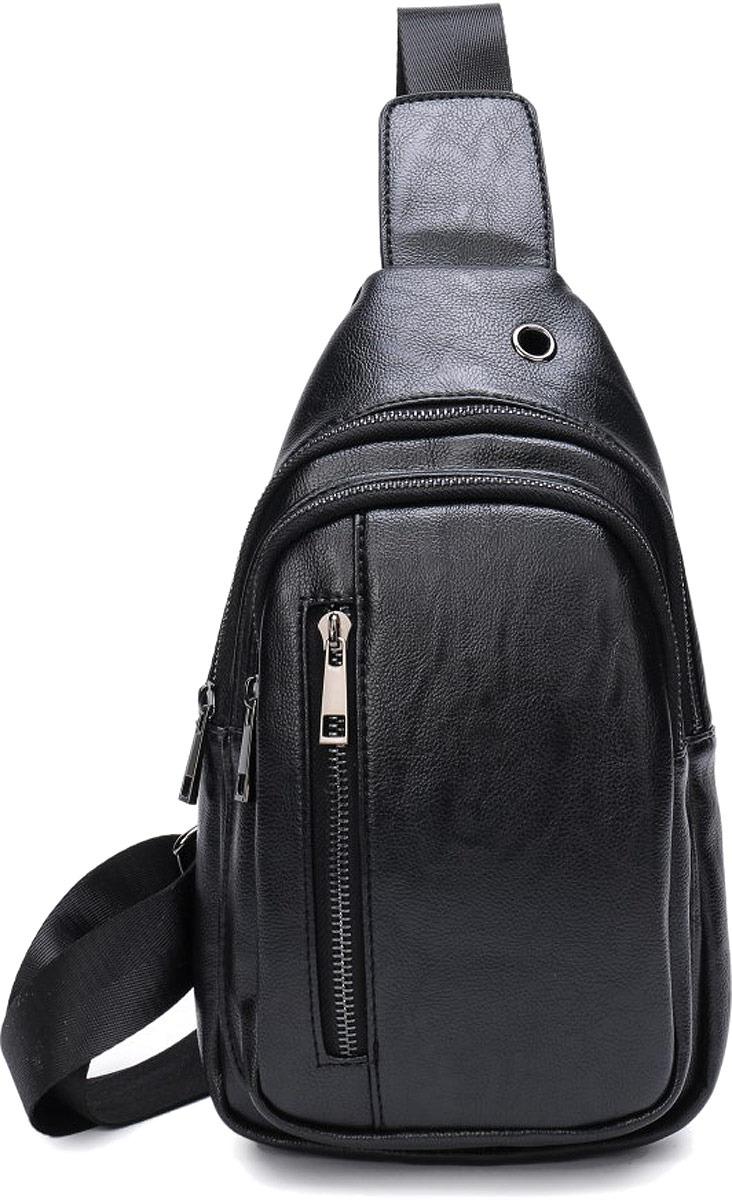 сумка - рюкзак одно лямочный, 2 отделения на молнии, внутренний карман на молнии, карман на задней стенке на молнии. Карман на передней стенке на молнии.