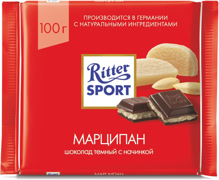 Шоколад темный Ritter Sport Марципан, 100 г ritter sport пралине шоколад молочный с пралиновой начинкой 100 г